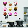Adesivo De Parede Cozinha Geladeira Kit Cup Cake 9 Modelos