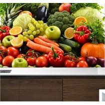 Adesivo Painel Papel Parede Cozinha Churrasqueira Fruta M01