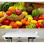 Adesivo Painel Papel Parede Cozinha Churrasqueira Frutas M03
