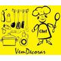 Adesivo Kit Cozinha Decoração Móveis Parede - Cartela