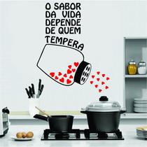 Adesivo De Parede Cozinha Geladeira Frase Coração Tempero