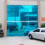 Película Adesiva Filme Azul Espelhado - Vidros Janelas Porta