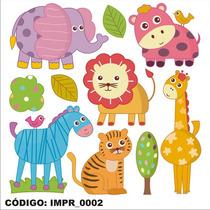 Adesivo Imp2 Infantil Desenho Kit Animais Safari Parede