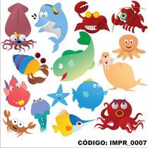 Adesivo Imp7 Infantil Kit Animais Do Mar Tubarao Polvo Foca