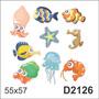 D2126 Adesivo Decorativo Animais Marinhos Infantil Peixe