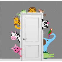 Adesivo Porta Quarto Infantil Animais Safari Parede Zoo 64