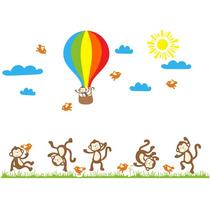 Adesivo Macaquinhos Quarto Infantil Balão Macacos 1,50m