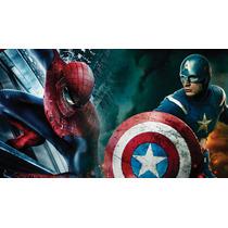 Papel De Parede Capitão America Homem Aranha Painel 5mt2