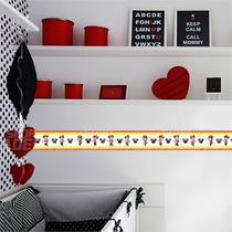 Faixa Decorativa Adesivo Parede Minnie Vermelha 10 Metros