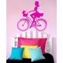 Adesivo De Parede Pessoas004 - 95x95cm Moça Bicicleta Mulher