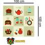 Adesivos Para Cozinha Utensílios Decorativos Ladrilho