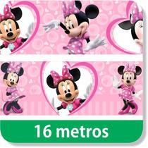 16 Metros De Faixas Border Parede Minnie Rosa E Vermelha