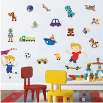 Adesivo De Parede - Menino Brinquedos 529a - Decoração