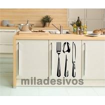 Adesivo Decoração Parede Móveis Cozinha Geladeira Talheres