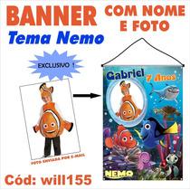 Banner Impresso Em Lona Aniversário Disney Nemo Will155
