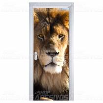 Adesivo Decorativo De Porta Madeira Vidro Leão