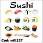 Adesivo Decorativo Digital Kit Sushi Comida Japonesa Will237