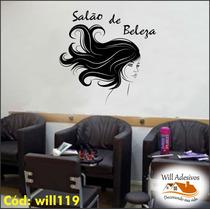 Adesivo Deparede Salão De Beleza Mulher Cabelo Rosto Will119