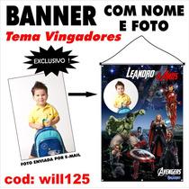 Banner Painel Aniversário Nome Foto Tema Vingadores Will125