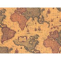 Papel Adesivo Contact 45 Cm X 10 Mts Mapa Antigo Lançamento
