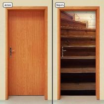 Adesivo Decorativo De Porta - Escada De Madeira - 557mlpt
