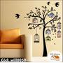 Adesivo Árvore Gaiola Pássaro Para Fotos De Família Will0050