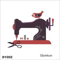 Adesivo D1002 Maquina De Costura Passarinho Tesoura