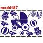 Adesivo I187 Carrinho De Bebê Com Mamadeira Bola Menino