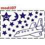 Adesivo I07 Estrelas Estrelinhas Nave Espacial Espaço Céu Fo