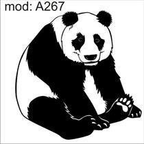 Adesivo A267 Urso Panda Preto E Branco Gordo Fofo Sentado