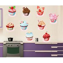 Adesivo Parede Azulejo Ladrilho Cozinha Kit Cup Cake