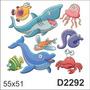 D2292 Adesivo Decorativo Tubarão Golfinho Peixe Siri Água