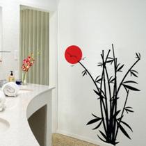 Adesivo Decorativo De Parede Oriental Bambu Lua Passaros