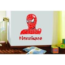 Adesivo Parede Quarto Homem Aranha Super Herói +nome Criança