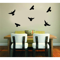 Adesivo Decorativo Parede Kit 36 Pássaros Na Cor Preta