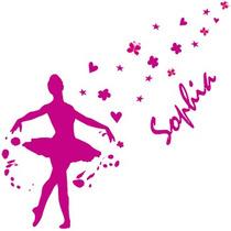 Adesivo Decorativo - Bailarina Com Nome Personalizado