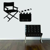 Adesivo De Parede Música Cadeira Claquete Cinema Filme Foto