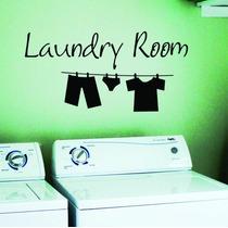 Adesivo De Parede Varal Roupas Lavanderia Laundry Room