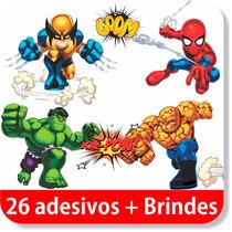 26 Adesivos Super Heróis Kids - Thor, Hulk, Aranha + Brindes