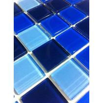 Pastilha De Vidro Cristal Mix Azul - Cxa C/ 11 Placas - 1m².