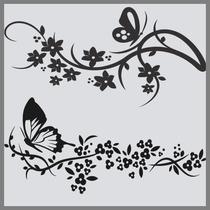 Adesivo Decorativo Parede Arabesco - Floral Borboletas Bambu