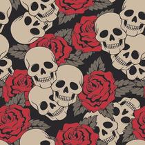 Papel De Parede Caveira Com Rosas Teen 07
