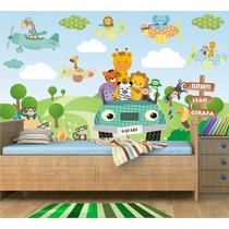 Papel Parede Painel Adesivo Safari Animais Infantil Zoo Md21