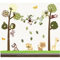 Adesivo Quarto Infantil Papel Parede Arvore Animais Zoo Bebe