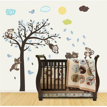 Adesivo Papel Parede Infantil Macaco Ursinho Safari Zoo M96
