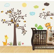 Adesivo Papel Parede Infantil Macaco Coruja Safari Zoo M95