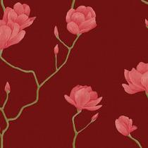 Papel De Parede Bobinex Natural Ref 1450 Vermelho Rosa Flor