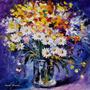 Afremov Foto P/ Quadro 70x70cm Decorar Obra Flores Coloridas