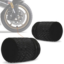 Bico Valvula Pneu Ar Tampa Moto Universal Aluminio Preto Par