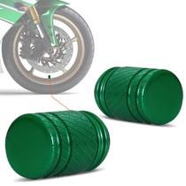 Bico Valvula Pneu Ar Tampa Moto Universal Aluminio Verde Par